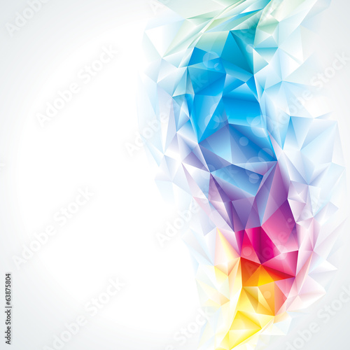 Abstract polygonal crystal colors background.
