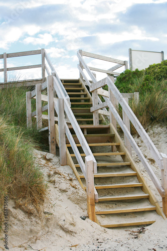 Wooden stairs on beach in Victoria, Australia