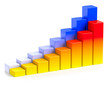 Bright colorful growing bar chart in two rows business concept