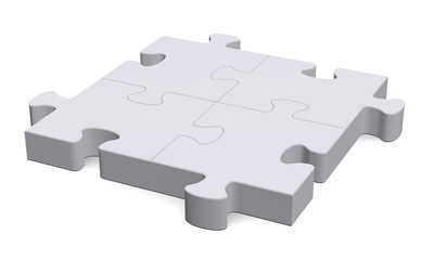 3d grey puzzle, perspective view