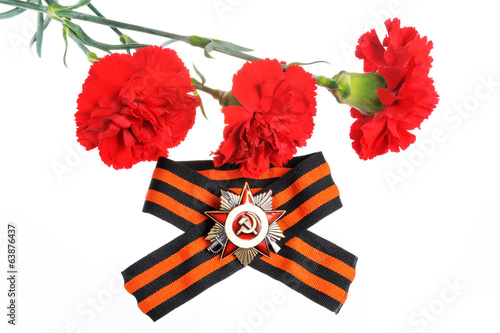 Saint George ribbon with order of Great Patriotic and red carnat