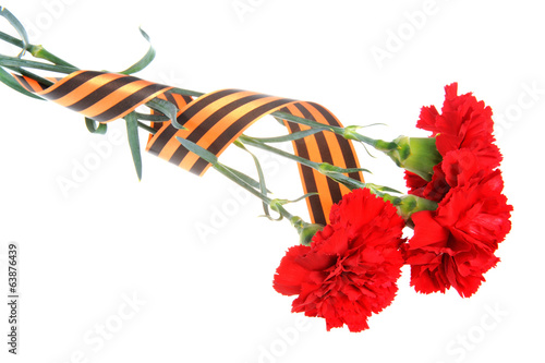 Three red carnations tied with Saint George ribbon isolated