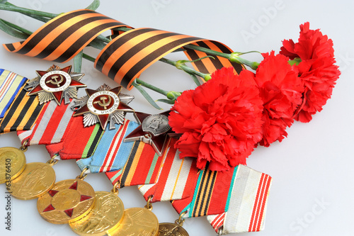 Red carnations tied with Saint George ribbon and medals with ord