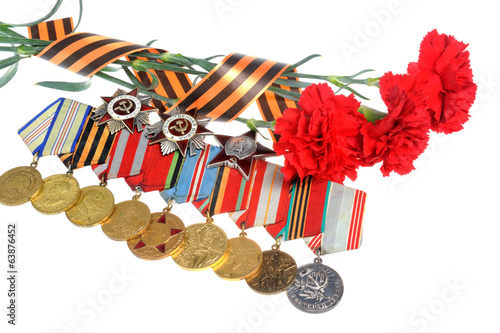 Red carnations turned with Saint George ribbon and medals with o