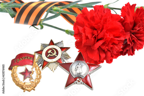 Red carnations tied with Saint George ribbon and orders of Great