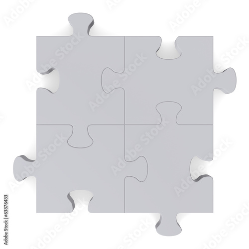 3d grey puzzle, top view