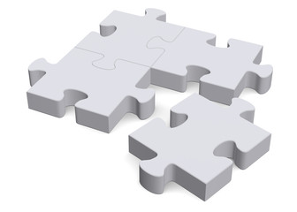 3d puzzle with missing piece on white, perspective