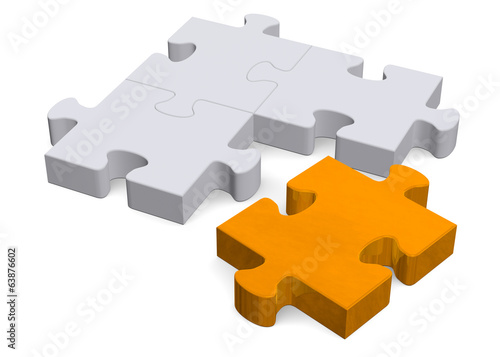 3d puzzle with orange missing piece on white, perspective