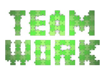 3d teamwork text assembled of puzzles