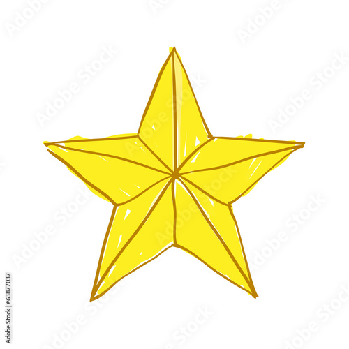 Hand drawn gold star on white