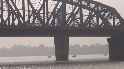 big bridge on Hoogly river in Colcata, India