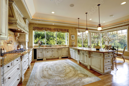 Luxury house interior. Antique kitchen cabinets