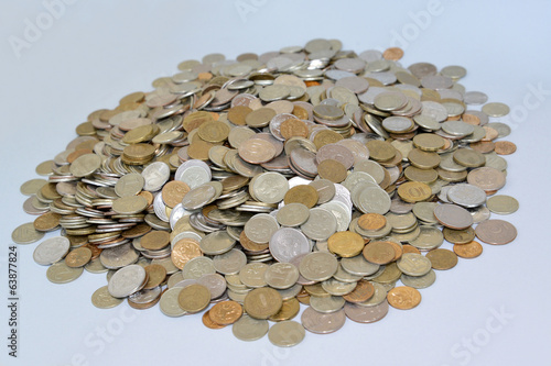 The Russian metallic currency on a light background. Lot of mone