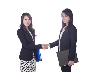 Two business women shaking hands business.