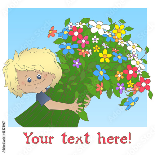Boy with a big bouquet of flower