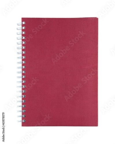 Red notebook on white isolate background