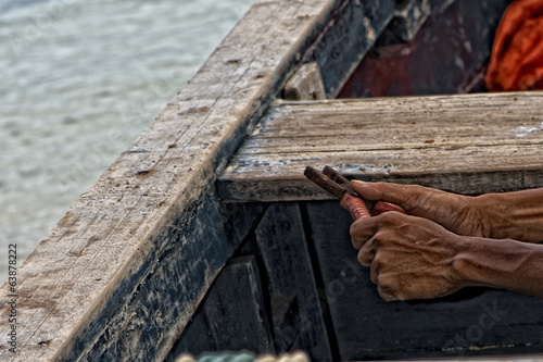 old asian male fisherman hands