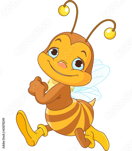 Running cute bee