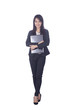 Business woman and laptop - isolated over a white background