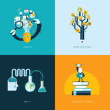 Fototapety Set of flat design concept icons for education