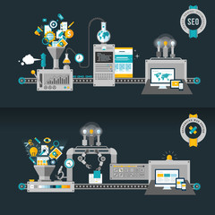 Flat design concepts, machines for web development and SEO