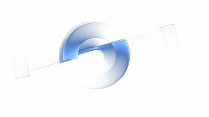 blue wire gear rotating, circular motion, seamless loop