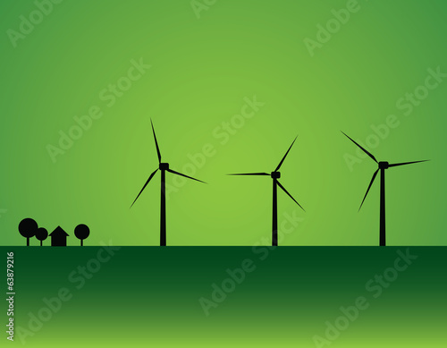 Wind turbine and house