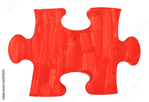 one red painted piece of jigsaw puzzle