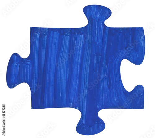 one painted dark blue piece of jigsaw puzzle