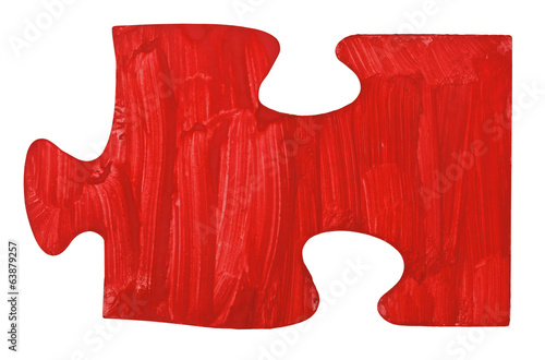 one hand painted red piece of jigsaw puzzle