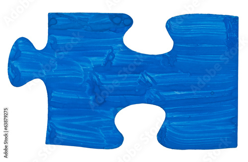 one blue painted piece of jigsaw puzzle