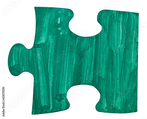 one blue piece of puzzle
