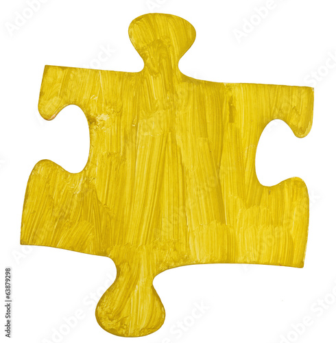 one yellow painted paper piece of jigsaw puzzle