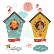 birdhouses and welcome home lettering