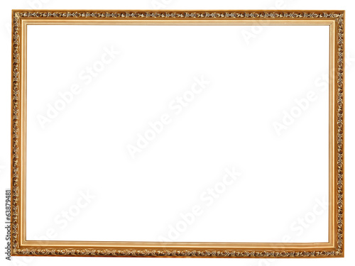 narrow golden carved wooden picture frame