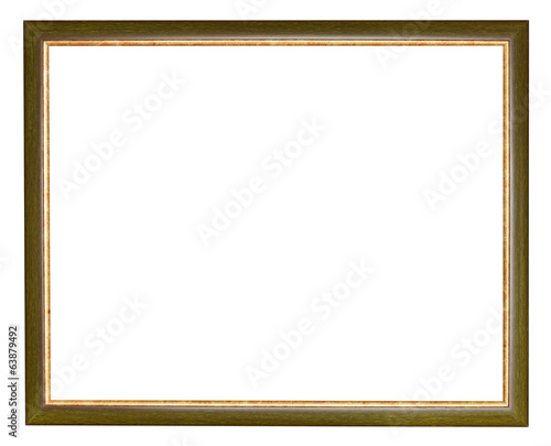 old green narrow wooden picture frame