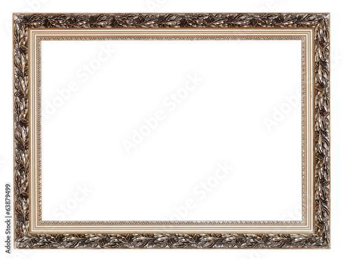 vintage wide silver carved wooden picture frame