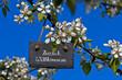 Schiefertafel am Birnbaum, Bütenzweig, Herzlich Willkommen