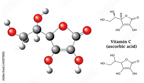 Structural chemical formulas of ascorbic acid (vitamin C)