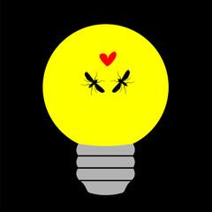 Bombilla amarilla con 2 mosquitos enamorados