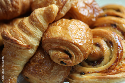 Pile of croissants and danish