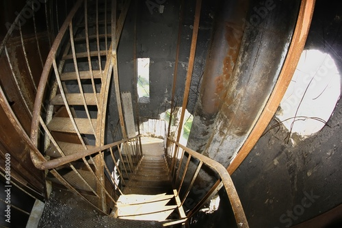 Interior of damaged water tower.
