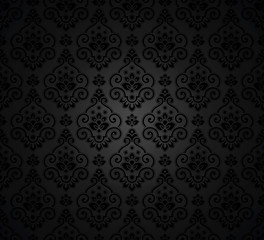 Damask floral seamless wallpaper