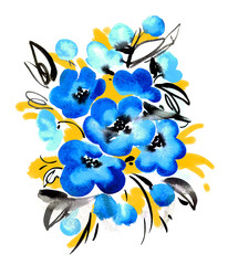 Watercolor bouquet of blue flowers
