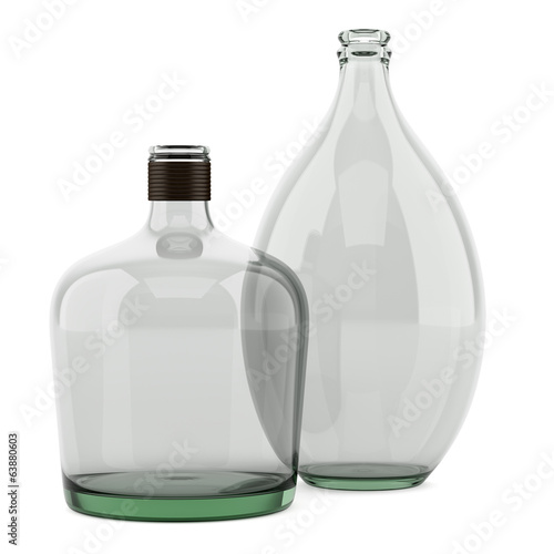 two empty bottles isolated on white background