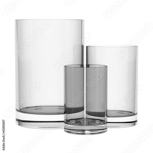 three empty glasses isolated on white background