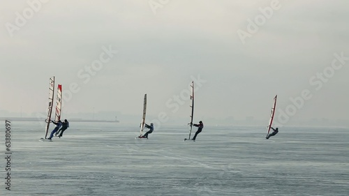 group  Winter windsurfers