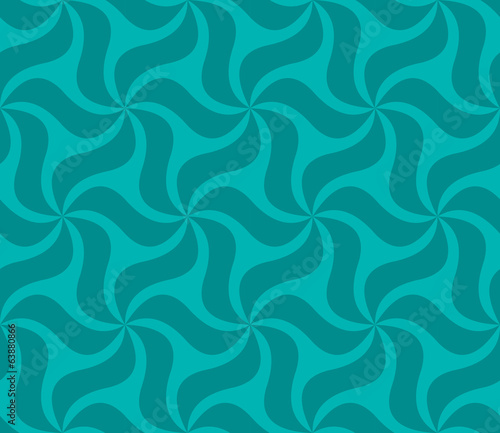 Teal seamless abstract curved pattern wallpaper