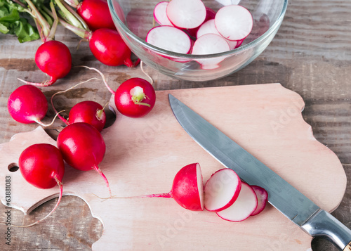 Radishes on the board