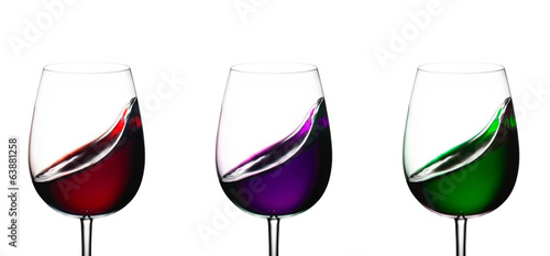 Three glasses with wine